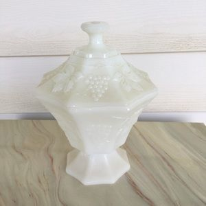 Vintage Milk Glass Candy Dish Grapes Leaves Emboss